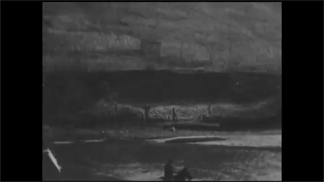 1930s: UNITED STATES: man rides horse across river. Man and horse cross creek.