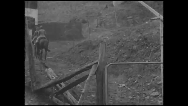 1930s: UNITED STATES: district nurse rides horse along track. Gate by track. Lady carries baby down steps. Nurse drops of package to lady