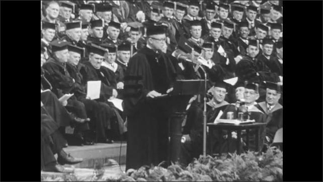 1950s: Dwight D Eisenhower speaking at podium.