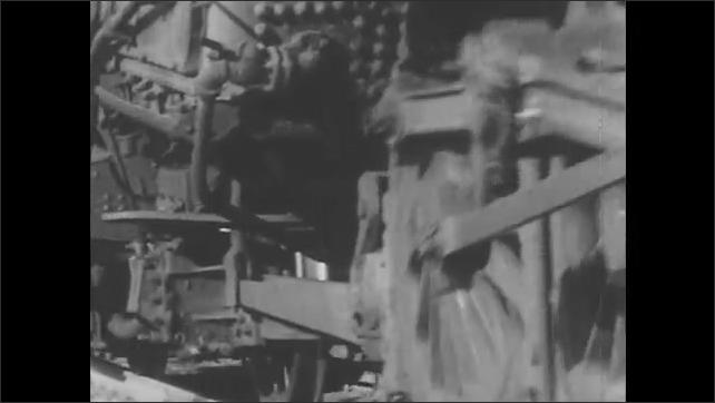 1940s: Train moves on tracks