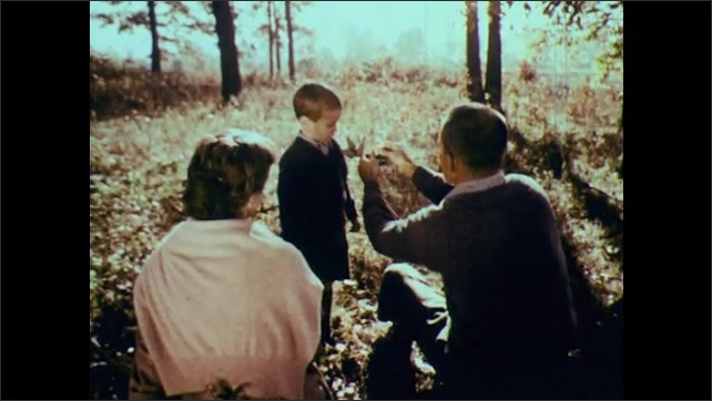 1950s: Man and woman sit.  Little boy runs through field with plant.  Man opens pod.  Boy blows seeds from father's hand.