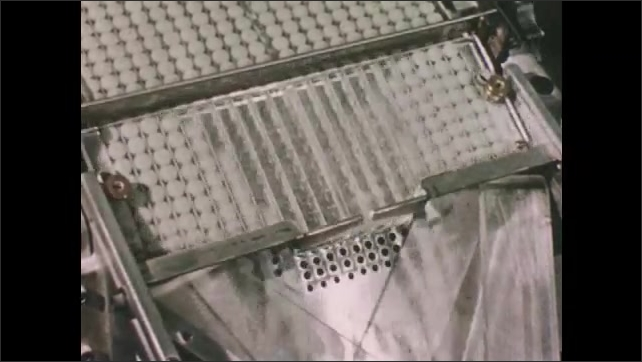 1950s: Factory.  Hands put bottles into machine.  Machine attaches labels.  Pills are fed into automatic counter.  Pills fall into plastic bag.  Women package pills.