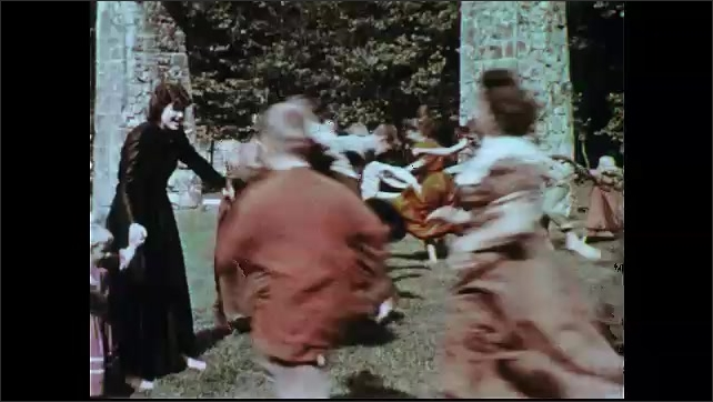 1950s: Close up of women. Men at range, man aims gun. Boys holding hands. Close up of boy. Boy runs through boys' hands. Kids run to line of other kids. Women quilting at table. Tilt up quilt.