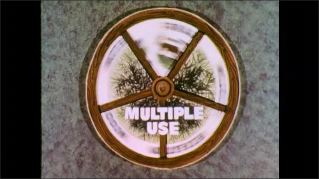 1970s: Forest multiple use wheel spins. Categories Wood, Water, Forage, Wildlife, and Recreation appear. The wheel spins quickly.