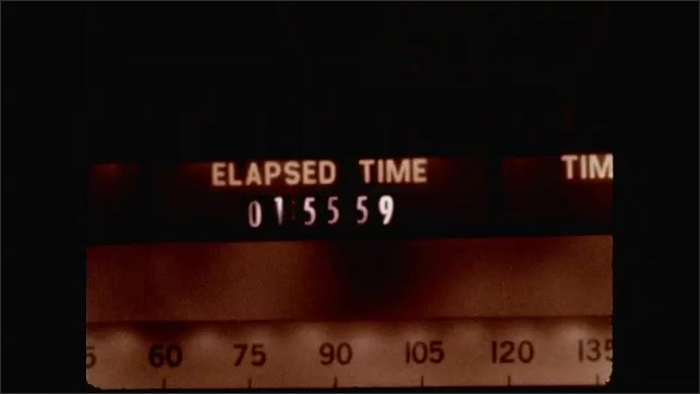 1960s: UNITED STATES: Orbit Number 0? Elapsed Time 015607 Ground control monitoring