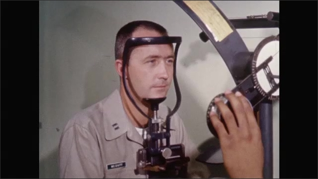 1960s: UNITED STATES: man takes astronaut's blood after flight. Man receives eye test after space flight. Post flight testing.