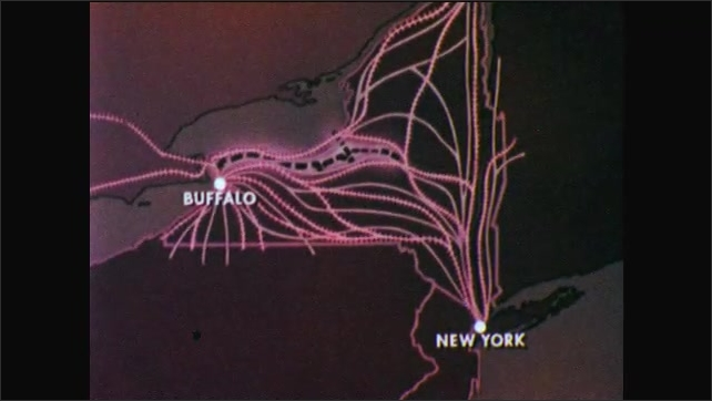 1950s: Car carrier truck. Map of New York state with Buffalo, New York City, and transportation networks highlighted. Map of route from Canada through Buffalo, and down through Mid Atlantic states.