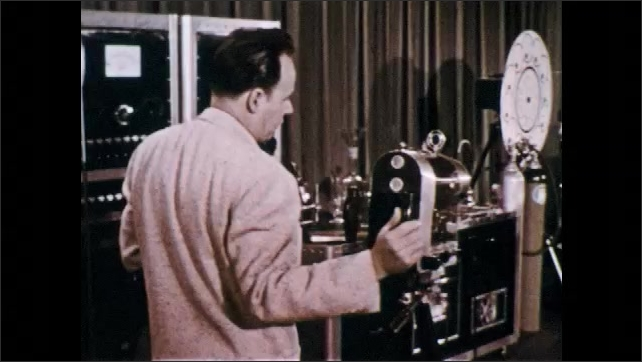 1960s: UNITED STATES: presenter talks to camera. Glass eye picks up music from light projection. Beam of light modulates music.
