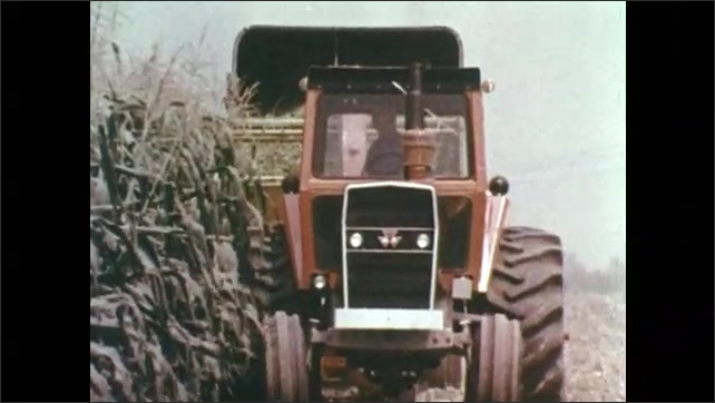 1970s: Tractor harvests corn.  Tractor tills soil.  City at night.