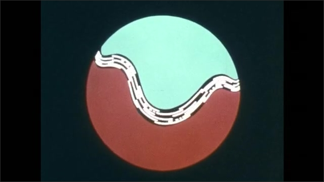 1970s: Animation of spinning sphere in space.  Wind moves across Earth.  Jet stream.