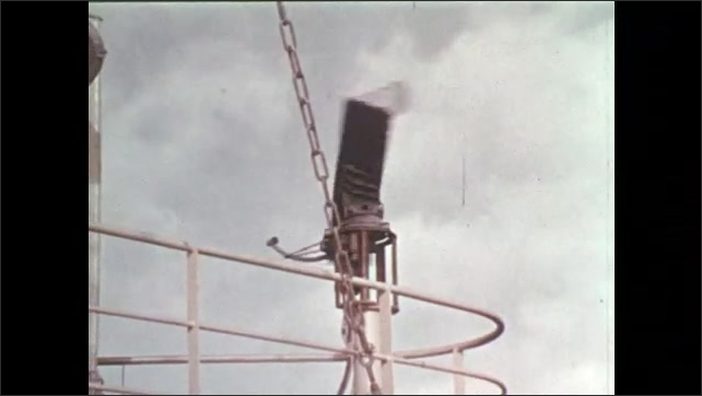 1970s: Men pull down weather instrument.  Pilots in cockpit.  Sky.  Plane gauge.  Satellite dish spins.  Piece detaches from space shuttle and flies toward Earth.  Piece burns.