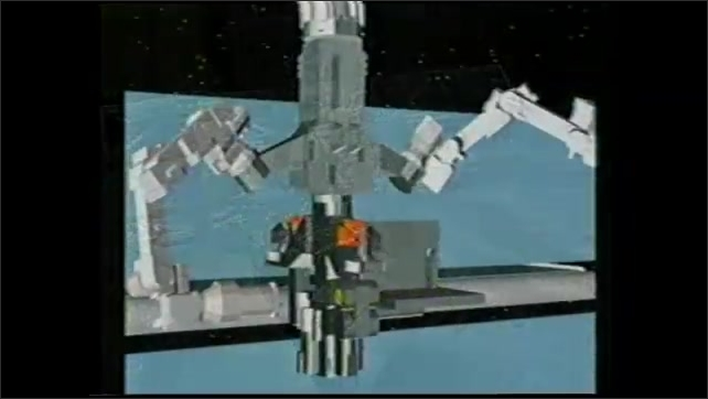 1990s: Animation of mechanical arm attached to satellite in space.