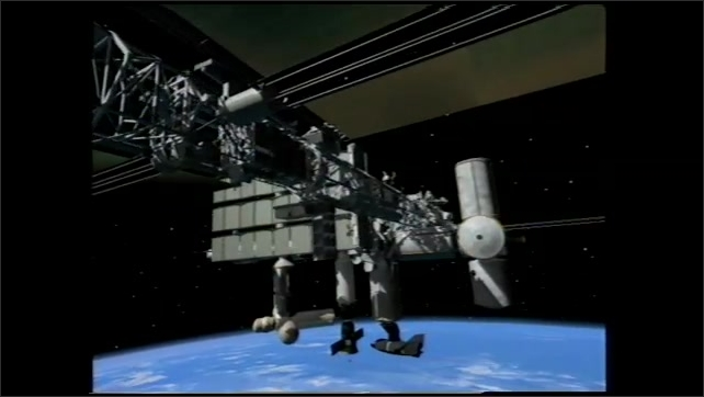 1990s: Computer animation of space station.