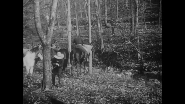 1900s: UNITED STATES: robbers run through woods with swag. Robbers ride horses through trees