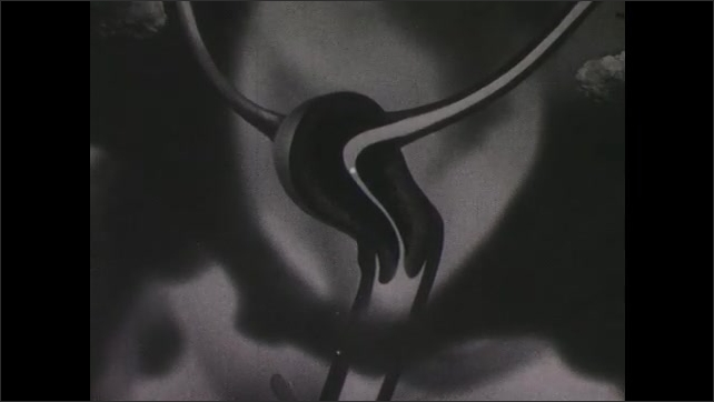 1940s: Illustration of woman's reproductive system. Egg travels down fallopian tube into uterus. Baby grows in uterus. Egg is released from uterus and out through the vagina.