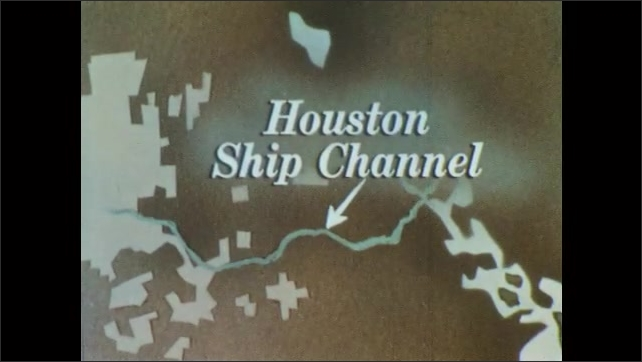 1960s: Animated map of Gulf Coast, zoom in on Texas. Animated map, zoom in on Houston Ship Channel. View from water, tracking shot of oil refinery.