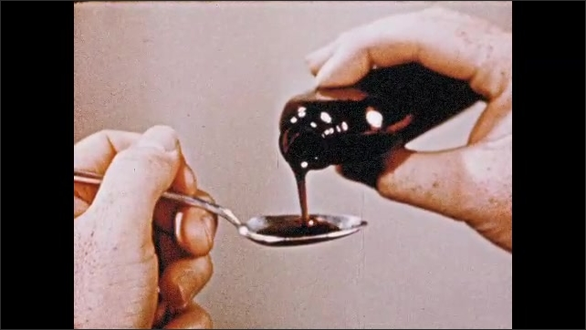 1950s: Man removes container of Ammonium Alum from medicine cabinet. Microscopic particles. Man pours medicine into spoon. Microscopic crystals bloom. Man pours eyewash into cup.