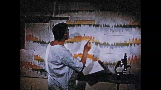 1950s: Man plugs in wires. Man looks at flask full of liquid. Man adjusts knobs on pipes. Man looks at graphs, looks at clipboard. Man looks through microscope.