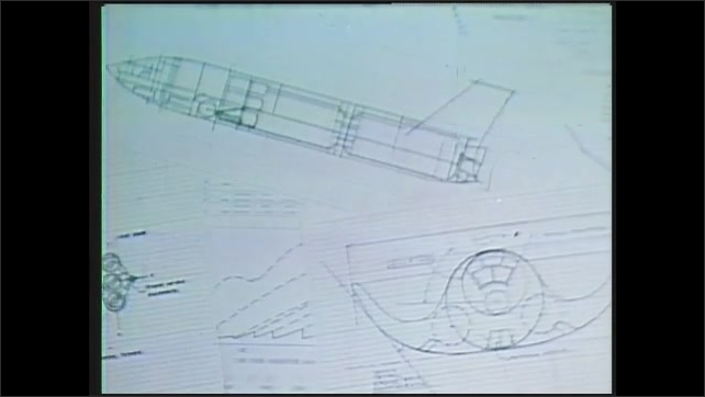 1990s: space shuttle returning and landing on Earth, schematics and model of space shuttle