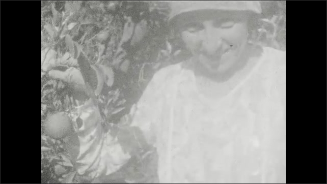 1920s: Girl and woman walk down path, stand next to citrus tree. Woman pretends to eat fruit.