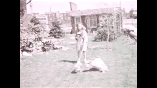 1930s: A dog sits in the yard. A girl holds a small dog on a leash in the yard, a bigger dog runs after the small dog, the girl holds the leash. Girl releases the small dog, two dogs run in the yard.