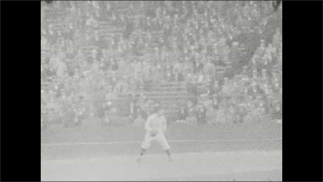 1930s: Men play baseball.