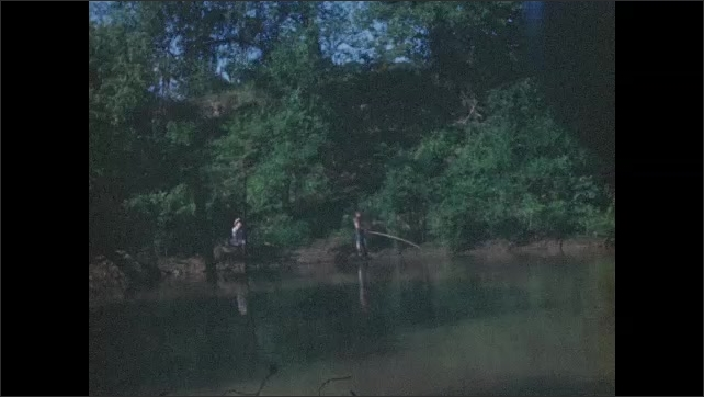 1940s: Rear view of boy in boat. View of river from boat. Men fishing in river. People in boat, man fishing. Long shot of boy on shore. Close up of boy. Boy swimming.
