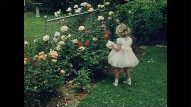 1950s: UNITED STATES: girl twirls in dress. Girl smells roses in garden. Girl in party dress