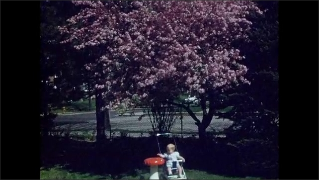 1950s: Baby sits in stroller in backyard garden. Baby in stroller sits near mushroom stool and dogwood in yard. Baby sits in stroller in yard.