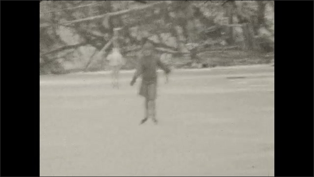 1920s: UNITED STATES: girl on ice. Dog pulls man across ice. Lady on skating rink. Girl runs through field with dog. Cars by field.