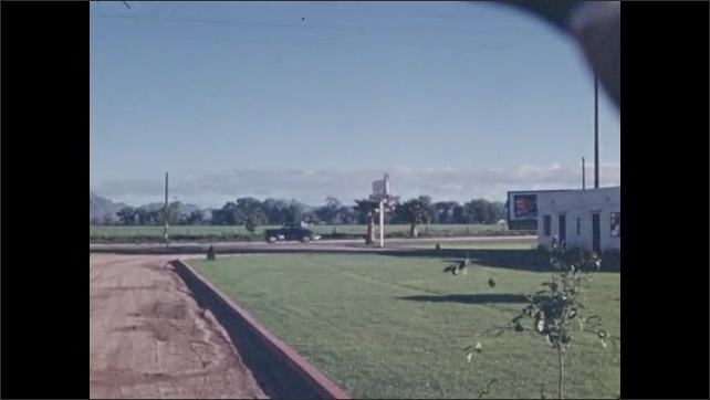 1940s: Palm tree by side of road. Woman stands next to dog in front of motel door. Woman walks from motel door down road. View of desert valley.