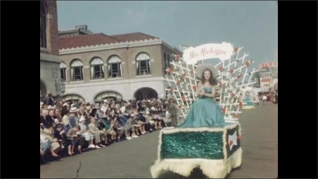 1940s: Two women ride in three wheeled push cab. Two women stand outside a house, man sits next to them on bench. Women walk down path, man stands and walks with women.
