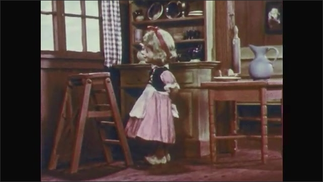 1950s: Stop-motion animation.  Sad man puts head in hands.  Little girl climbs down ladder and walks backwards.  Girl knocks over pitcher of milk.  Pitcher falls to floor and breaks.