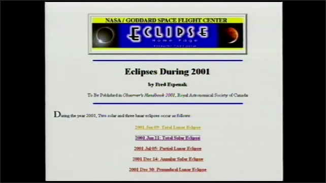 2000s: UNITED STATES: NASA/Goddard Space Flight Centre eclipse information. Website with information about solar and lunar eclipses.