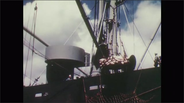 1950s: Cranes lift boxes and bags of pineapples onto cargo ships. Men work on port deck near pallets of pineapples.