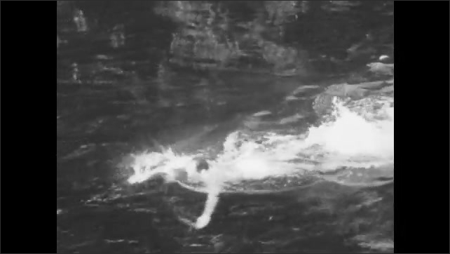 1940s: A man swims through the water using a freestyle stroke.