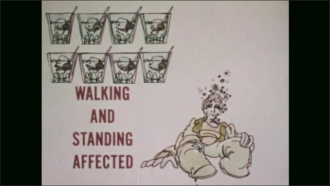 1970s: Drawing of the effects of drinking alcohol on a man.