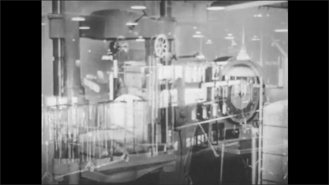 1940s: Aluminum sample is tested in tension machine. Large furnaces and quenching units in aluminum treatment plant. Man opens door to industrial furnace.