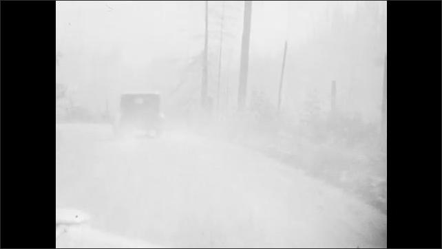 1930s: Car drives down dusty road.  Car follows another car through forest.