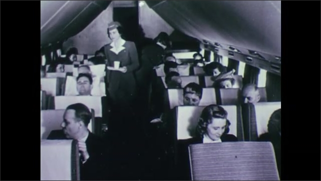 1940s: UNITED STATES: women's work in office. Lady on telephone, Women employed in 1946. Air hostess on plane.
