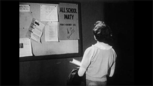 1950s: Boy reading in classroom. Girl in hall, stops at bulletin board. Close up of girl. Close up of poster.