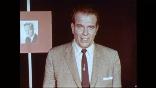 1960s: UNITED STATES: presenter talks to camera. Man leaves office. Supervisor sits at desk