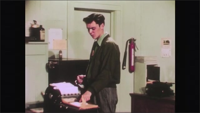 1950s: Twin tries to explain away poor quality of copies to boss. Boss checks watch and leaves shipping area. Clock turns from 9:10 to 5:25. Conscientious twin tidies up shipping area.
