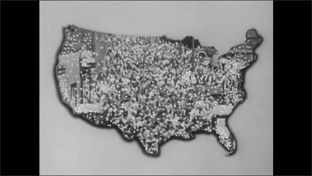 1950s: UNITED STATES: crowds gather in street. Map of America. Cows on ranch. Cowboys on ranch. Workers walk to work. Water power. Question mark on American map.
