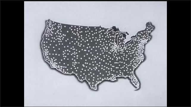 1950s: Man stands in crowd. Man in uniform salutes. Soldiers march. Man in crowd. Man in uniform. Map of United States with dots. Dots turn into star over Washington D.C., Crowd of people march.