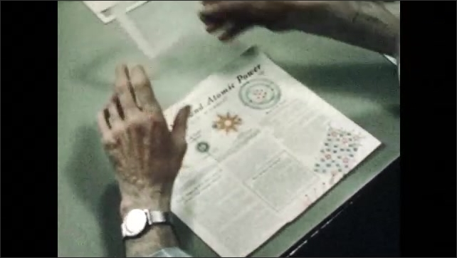 1940s: Man sits in classroom.  Man puts glass plate over newspaper.  Man opens bottle of ink.