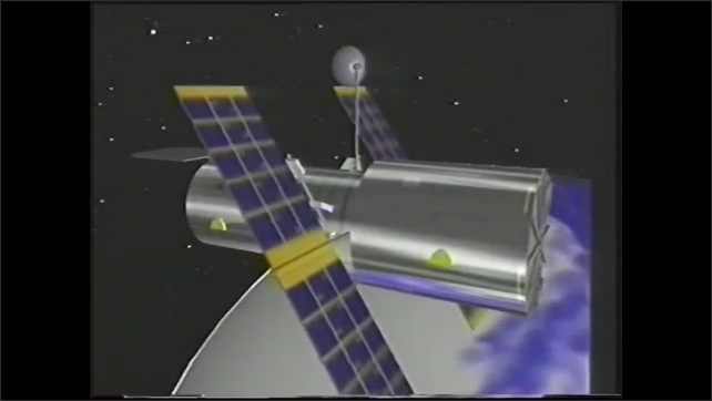 1990s: Scientist flips through paper schedule in control room. Edward Ruitberg explains in computer room. Animation of Hubble Telescope. Woman engineer takes a call in control room.