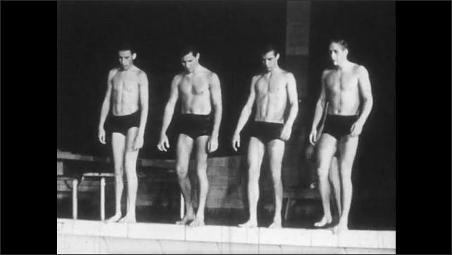 1950s: X-ray of torso, heart beating. Man crouches at edge of swimming pool, dives. Men walk along edge of swimming pool, dive in together. Man flips from diving board into pool.