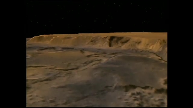 1990s: Animation, flying over surface of Mars.