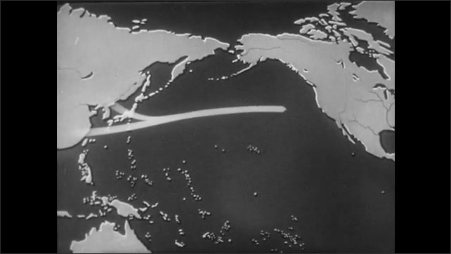 1940s: Map of continents and Pacific Ocean. Animated arrows move from Southeast Asia to North America. Icons of people appear over Asia and move towards North America.